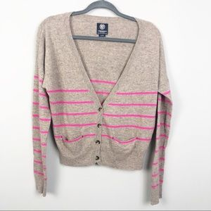 AMERICAN EAGLE   Tan and Pink Button Cardigan L